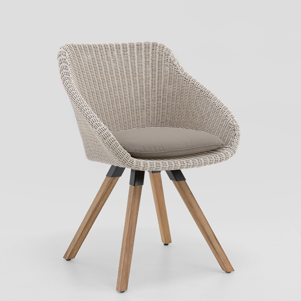 Niehoff Nizza Sessel mit Teak 4-Fuß-Gestell, Geflecht white washed (Sitzkissen nicht im Lieferumfang enthalten)